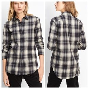 Vince Oversized Plaid Button Down Shirt Women's L